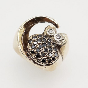 Anello Civetta - diamanti brown